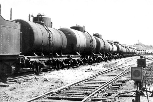 An oil-train ready for dispatch to the front, 10 August, 1942, Baku.