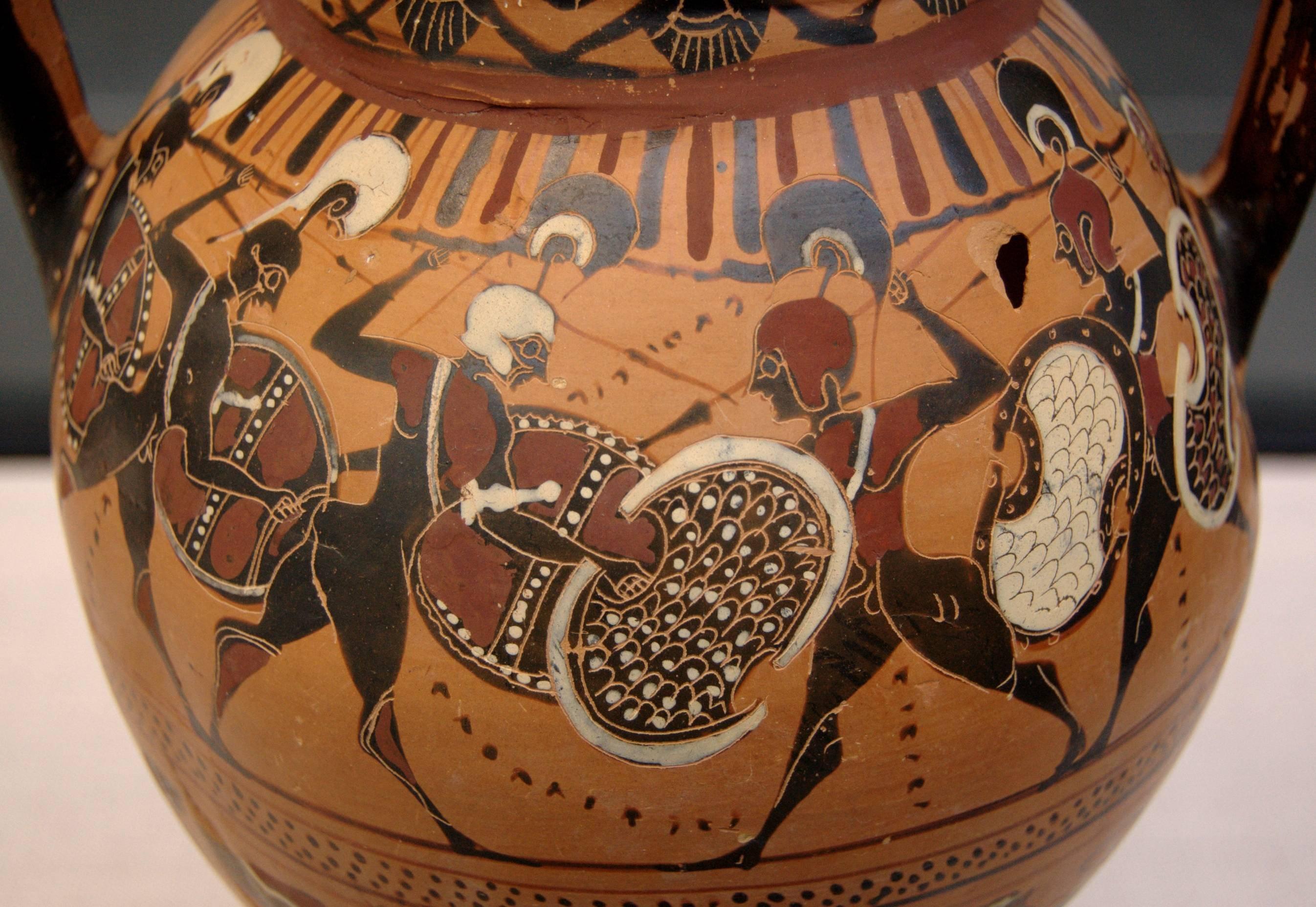 Phalanx. Side A of an Attic black-figure Tyrrhenic amphora, ca. 560 BC