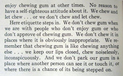 Paragraph about chewing gum etiquette